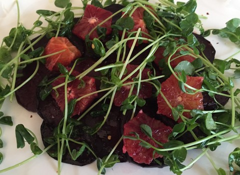 Roasted Beet Salad with Blood Orange and Pea Shoots ...