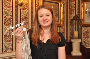 Jillian McDonald with one of the bridal headpieces brides wore at the event.