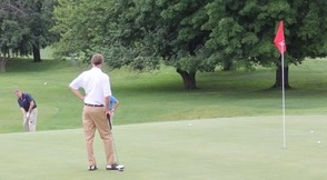 Joe DiPaolo chips it onto the green.