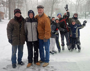 Bob Budiansky and skaters at LaGrande Park