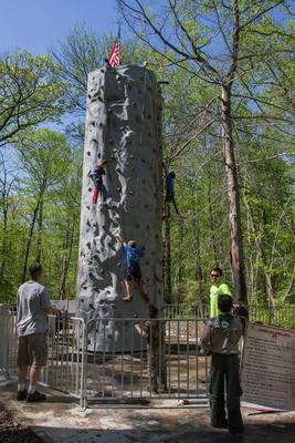Rock-climbing wall at Cub Scout Camporee 2014
