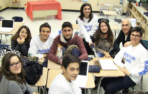 Students answered questions for on an Italian radio program via laptop