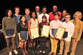 Columbia High School Fencers honored by Freeholders:(Front row, l. to r.) Joelle Santos, Najiyyah Latif, Jared Lebron, Jonathan Kirk; and (2ndrow, l. to r.) Ravi Cho, Harrison Clark, Max Gould, Noah Kambili and Coach Daryl White.  They were joined by (2nd row, r. to l.) Freeholder Vice President Patricia Sebold and Freeholder Carol Clark, and Freeholder Gerald Owens (back row, center).