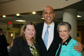 US Senator Cory Booker, Assemblywoman Mila M. Jasey and 1199J Union President Sue Cleary