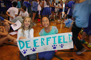 Katie Overdeck and Natalie Ho, fifth graders, celebrate at Deerfield's Schoolebration.