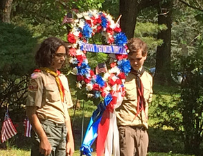 Scouts with wreath