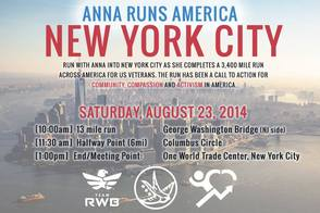 Anna Judd will complete her journey in NYC today