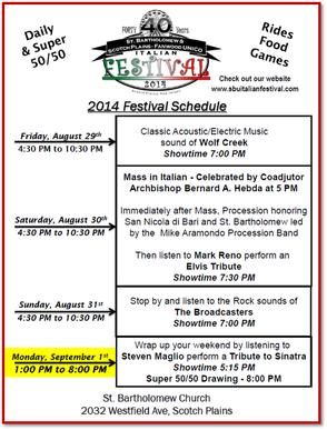 St. Bart's Schedule