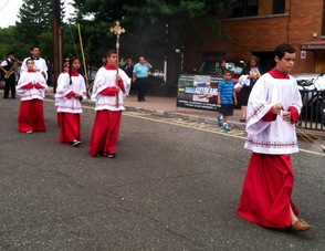 Altar servers at St. Bart's Festival procession