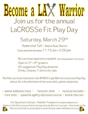 Become A LAX Warrior laCROSSe Fit Play Day On March 29, photo 1