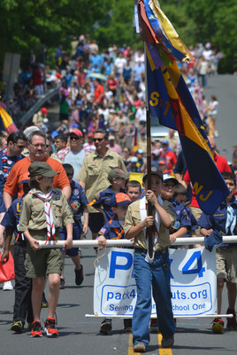 It's a sea of Scouts on Martine Avenue in Fanwood as the Memorial Day parade makes its way to LaGrande Park