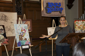 Fiona Murphy presents her painting, depicting imagery of different countries and cultures joining together.  In last year's Arts of Respect, Murphy won second place in the high school visual arts division.