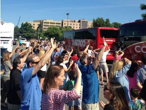 Parents Wave Goodbye to Campers Leaving for Sleepaway Camp