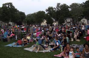 Crowd gathers to watch The Lego Movie