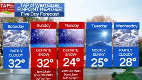 "5.9"" Snow Sunday into Monday; West Essex Area Weather for Saturday, Mar. 1, photo 1"