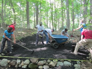 Crew members working on the conservation project.