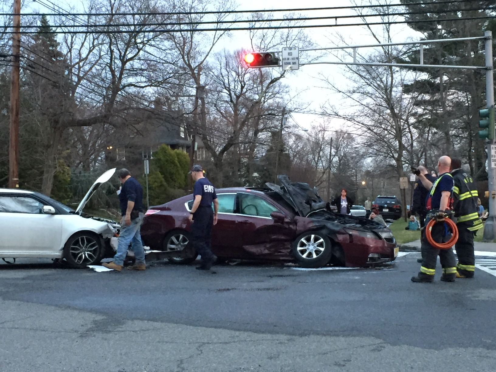 Car Catches Fire After Crash In Westfield Westfield Nj