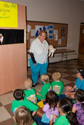 Emily and Herman Ference used puppets to relate the bible story of the day