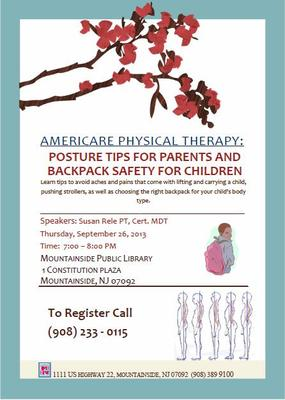 Posture Tips for Parents and Backpack Safety for Children, brought to you by AmeriCare Physical Therapy, photo 1