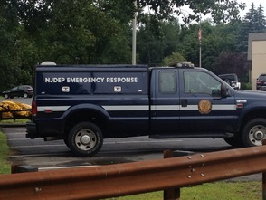 NJ Department of Environmental Protection vehicle at Montville's Municipal Fields after fuel spill on Aug. 12