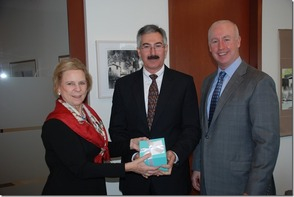 Pictured from left to right: Frances Laserson President of The Moody's Foundation, Thomas Pirone, and Raymond McDaniel President and Chief Executive Officer of Moody's Corporation.