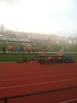 Both teams head off the field at halftime