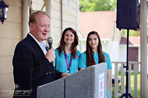 United States Congressman Leonard Lance addresses the crowd at the May 18 Cranford area Promise Walk along with mother-daughter walk coordinators, Stephanie and Marissa Steiner