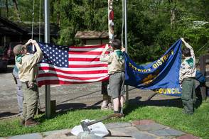 Flag raising at 2014 Cub Scouts Spring Camporee