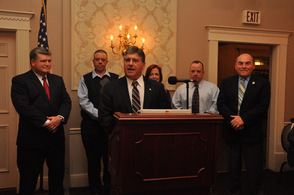 Gary Chiusano introduces running mates, Senator Steve Oroho, Assemblywoman Alison Littell McHose, Assemblyman Parker Space, Sussex County Sheriff Michael Strada, and Sussex County Freeholder Richard Vohden.