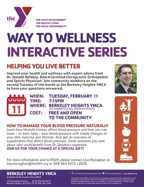 Way to Wellness Series at the YMCA, Feb. 11: How To Manage Your Blood Pressure Naturally, photo 1