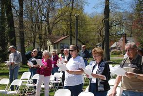 The crowd at the Day of Prayer in Hopatcong sings a hymn.
