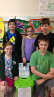 Fourth Graders at Hughes School in Berkeley Heights participate in Earth Week Cell Phone Recycling Collection