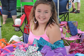 Ashley Bray with her duct tape bows.