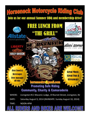 Horseneck Motorcycle Riding Club Announces Summer 2014 BBQ, photo 1