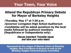 Berkeley Heights Republican Party Primary Mayor Debate, photo 1