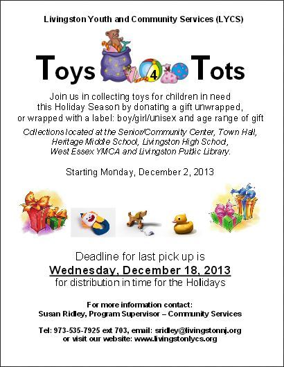 Toys For Tots Community : Livingston youth and community services is collecting toys