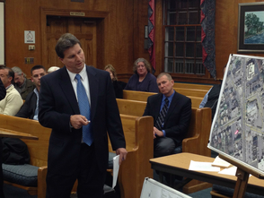 Civil engineer Keith Cahill shows conceptual plans for a free-standing Walgreens in the township.