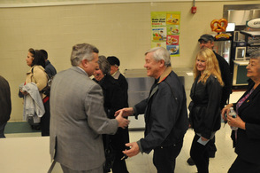 Newly selected Sussex County Freeholder George Graham, shakes hands and thanks attendees as they depart the convention.