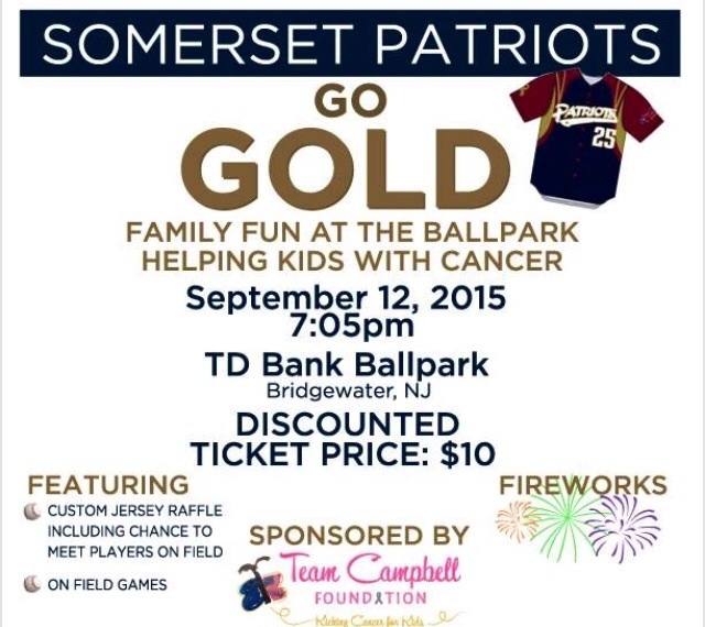 Somerset Patriots Team Up with Team Campbell Foundation for Go Gold! Childhood Cancer Awareness Night