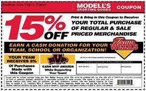 Modell's Sporting Goods 15% Off Coupon; Benefits the Madison Area YMCA