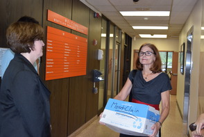 Marcia Marley and Yarrow Willman-Cole holding petitions