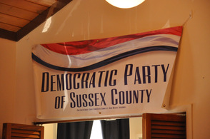 One of the signs promoting the Sussex County Democratic Party.