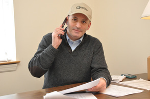Bader Qarmout volunteering his time at the phone bank, at the Sussex County Republican Headquarters in Sparta.