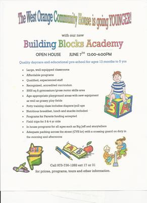 West Orange Community House to Hold Building Blocks Academy Open House on June 7, photo 1
