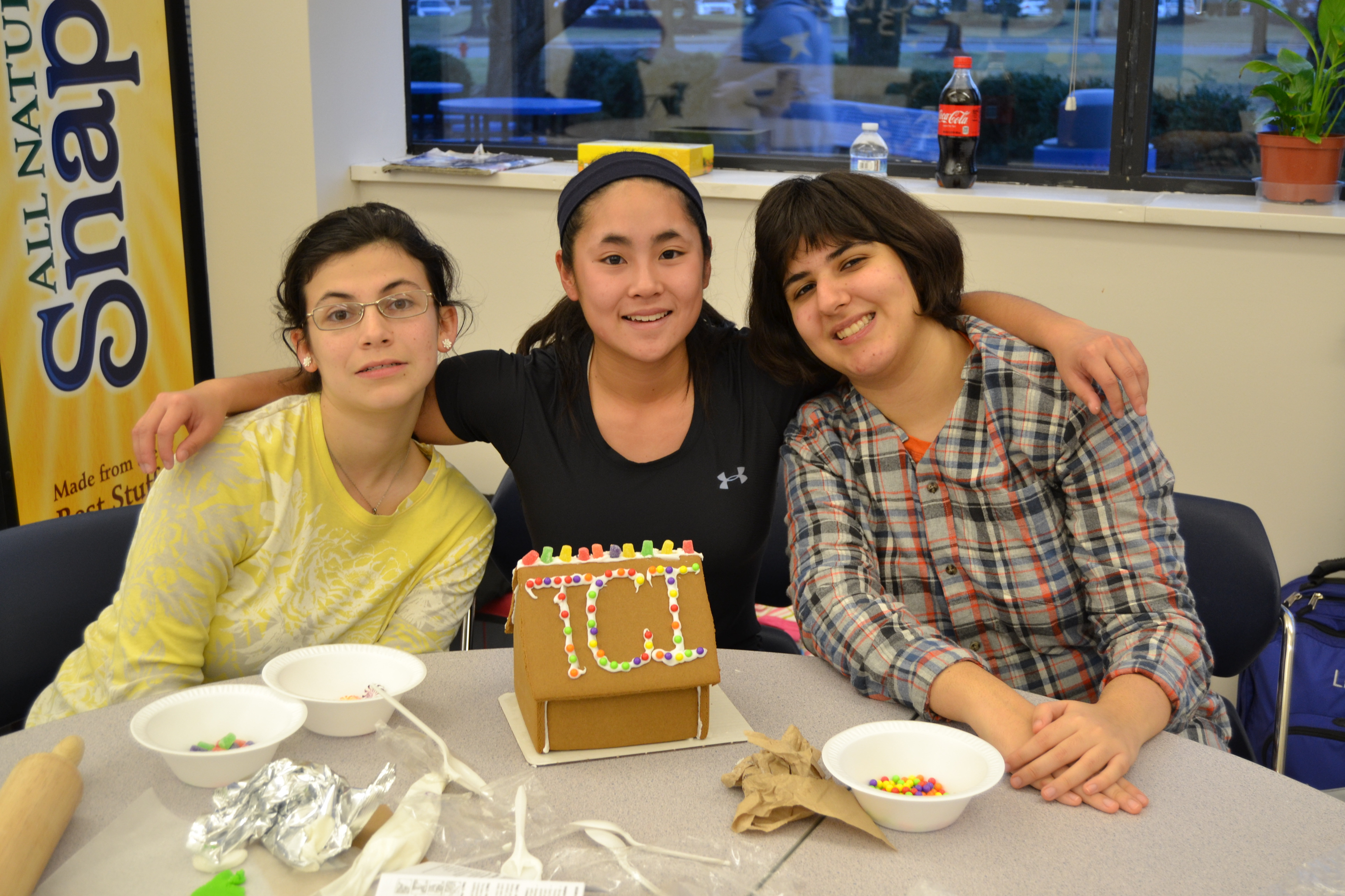 high school students at the children s institute enjoy after left to right tci student hannah h from morristown mount st dominic academy student ashley kowalski of stanhope and tci student leila g of short