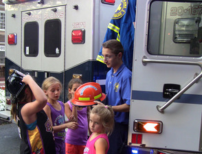 Marcus Valdez and future EMTs at Scotch Plains National Night Out Celebration
