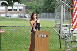 Courtney Berado sings the National Anthem.