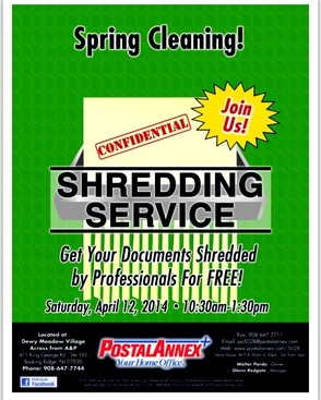 Spring Cleaning? Shred Your Documents At The Postal Annex On April 12, photo 1