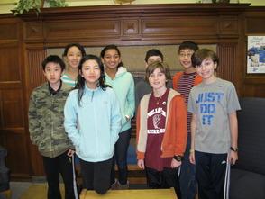 Left to right: back:  Jennifer Shan, Anushka Somani, Aaron Damesek, Shikhar Gurung, Front: Derek Sun, Elizabeth Liu, Adrien Chehade, Eric Lieberman