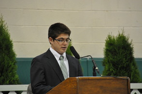 Lazar's Student Council President, Jack Motherway at the 2014 8th Grade Promotion Ceremony